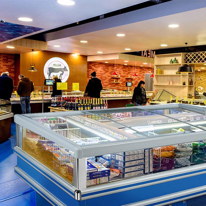 Double Temperature Ventilated Island Freezer For Supermarket