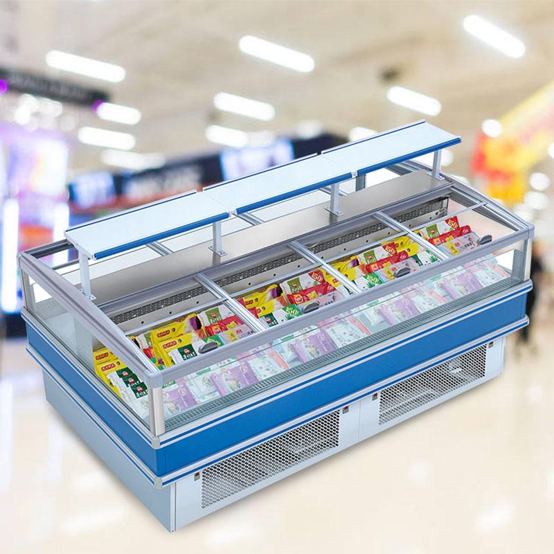 Supermarket Plug-In Deep Frozen Food Storage Island Chest Freezer Refrigerator