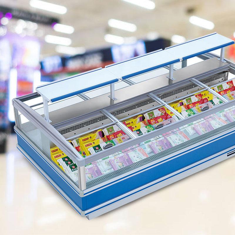 Grocery Store Remote Frozen Food Deep Storage Display Island Freezer Refrigeration