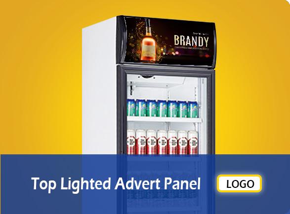 Top Lighted Advert Panel   NW-LG232B-282B-332B-382B single glass door display fridge