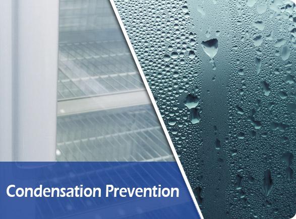 Condensation Prevention   NW-LG232B-282B-332B-382B glass display chiller