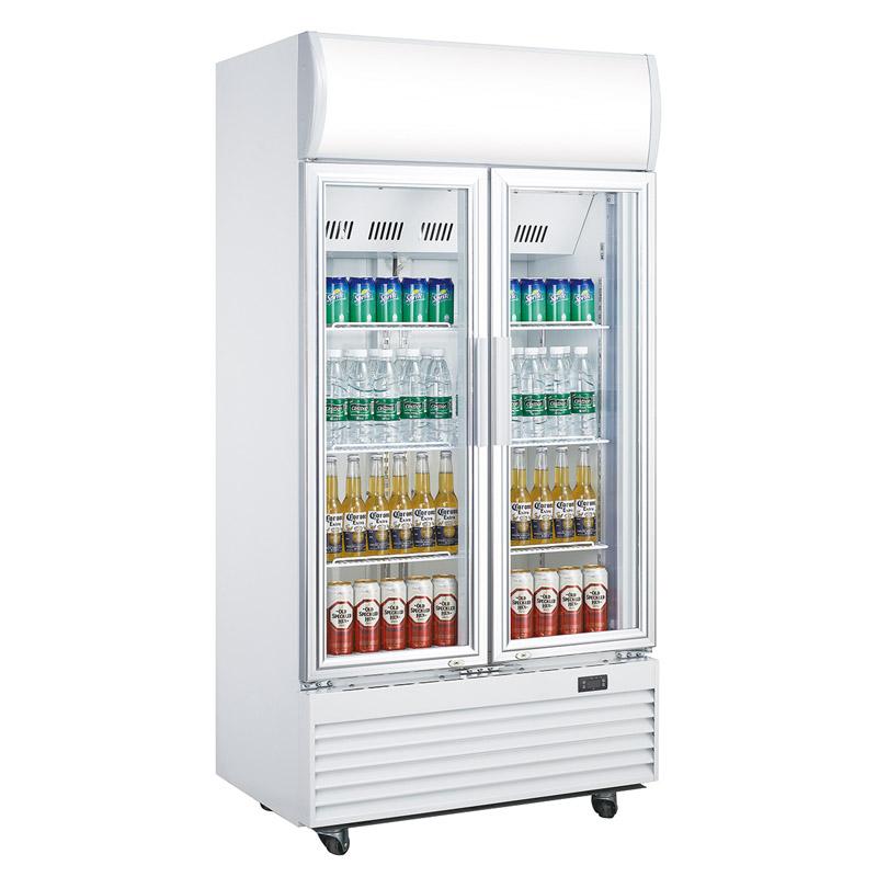Upright Beverage Cooler Double Glass Door Display Fridge