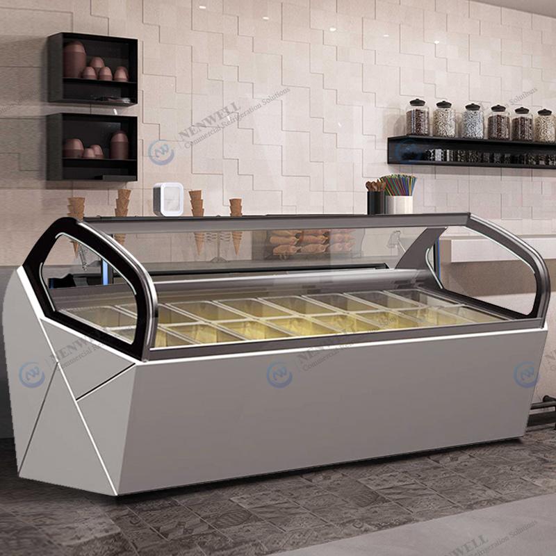 Commercial Ice Cream Shop Glass Door And Top Gelato Storage Display Freezer Fridge