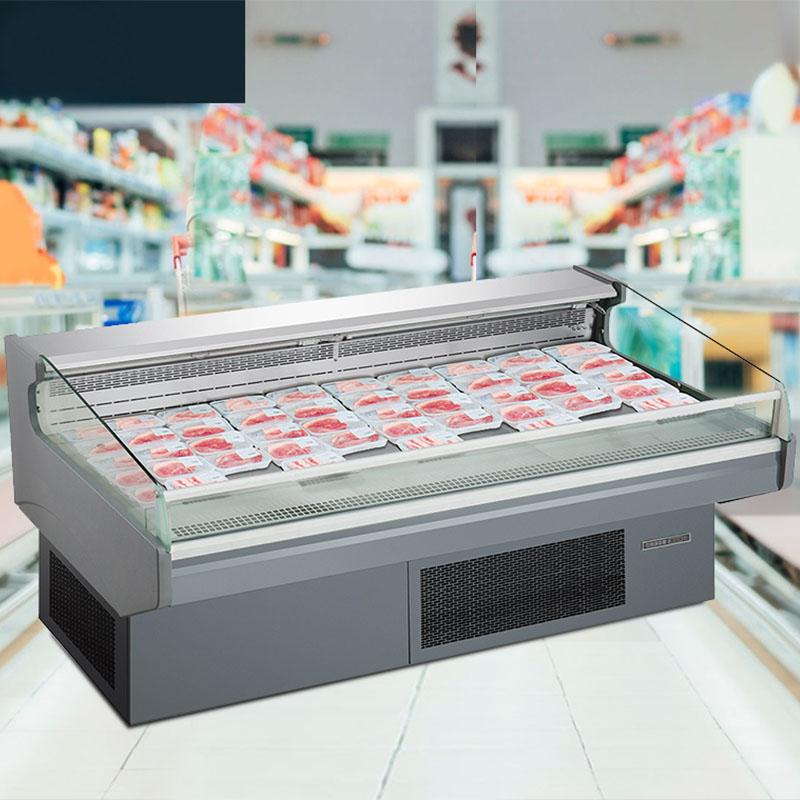 Supermarket Plug-In Fresh Meat Serve Over Counter Insulating Glass Display Fridge