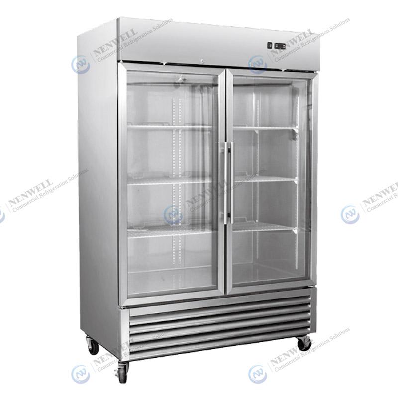 Commercial Kitchen And Butchery Shop 2 Glass Door Meat Display Merchandiser Freezer
