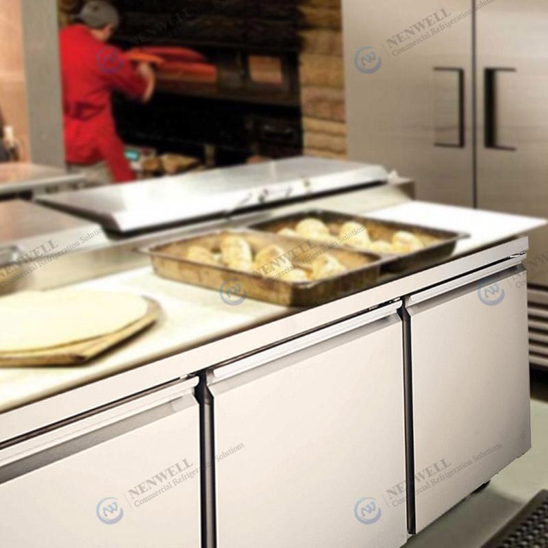 Commercial Kitchen Integrated 3 Door Stainless Steel Undercounter Fridges And Freezers