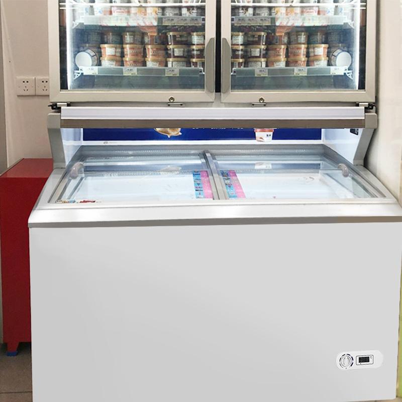 Commercial Display Chest Freezers With Flat Top Sliding Glass Door